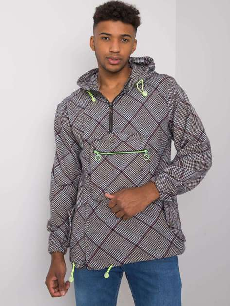 Granatowo-biała męska bluza z kapturem