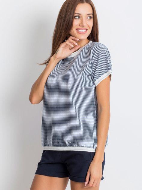 Granatowo-biały t-shirt Swanky                              zdj.                              3