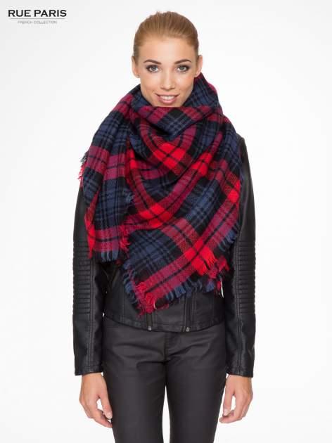 Granatowo-czerwony szalik damski w kratę