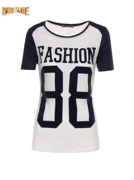 Granatowo-szary t-shirt z nadrukiem FASHION 88                                  zdj.                                  1
