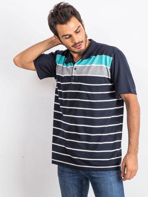 Granatowo-turkusowa koszulka męska polo Parisian