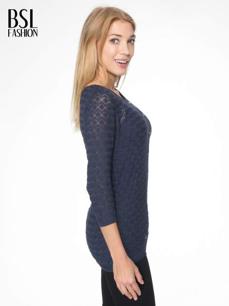 Granatowy ażurowy sweterek kardigan na guziki                                  zdj.                                  3