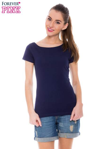 Granatowy basicowy t-shirt z okrągłym dekoltem                                  zdj.                                  1