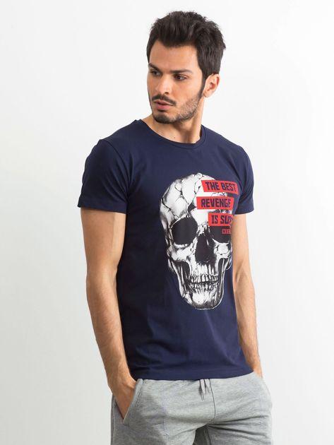 Granatowy bawełniany t-shirt męski z printem                              zdj.                              3