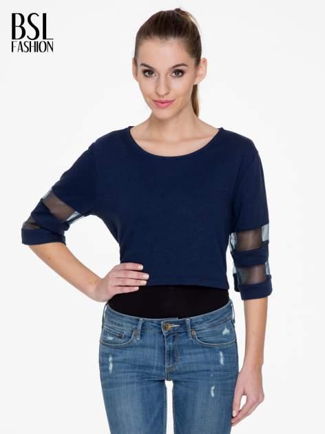 Granatowy cropped t-shirt z transparentnymi rękawami                                  zdj.                                  1