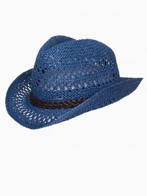 Granatowy damski kapelusz kowbojski z ciemną plecionką                                  zdj.                                  7