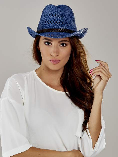 Granatowy damski kapelusz kowbojski z ciemną plecionką                                  zdj.                                  1