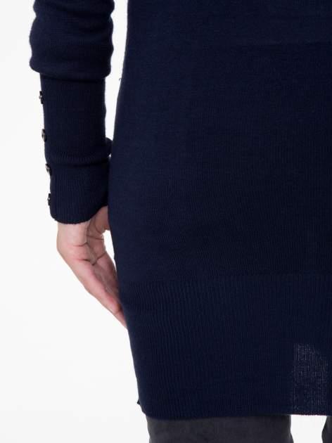 Granatowy długi kardigan z kieszeniami                                  zdj.                                  7