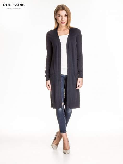 Granatowy długi sweter kardigan z rozporkami                                  zdj.                                  2