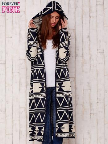 Granatowy długi sweter motywy geometryczne                                  zdj.                                  6