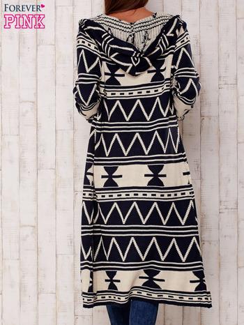 Granatowy długi sweter motywy geometryczne                                  zdj.                                  5