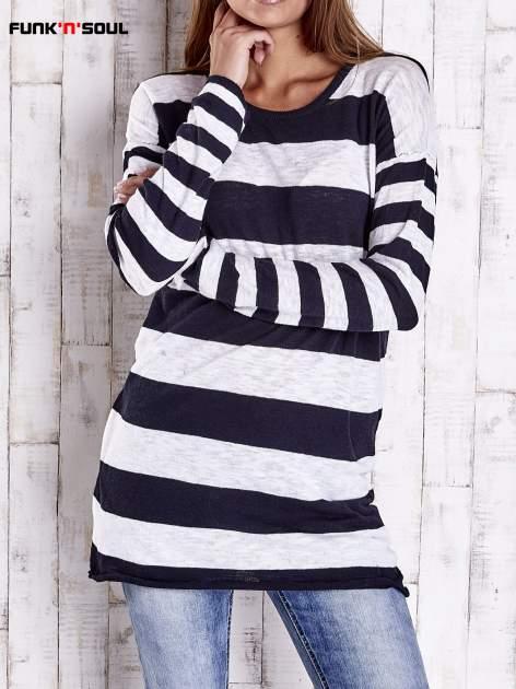 Granatowy długi sweter w szerokie paski Funk n Soul