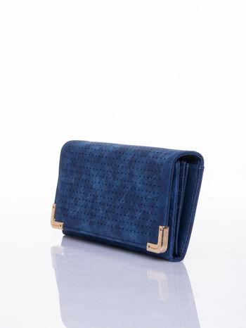 Granatowy dziurkowany portfel ze złotym wykończeniem                                  zdj.                                  3