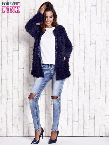 Granatowy futrzany sweter kurtka na suwak                                  zdj.                                  7