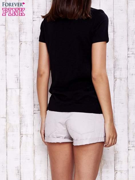 Granatowy gładki t-shirt basic                                  zdj.                                  4