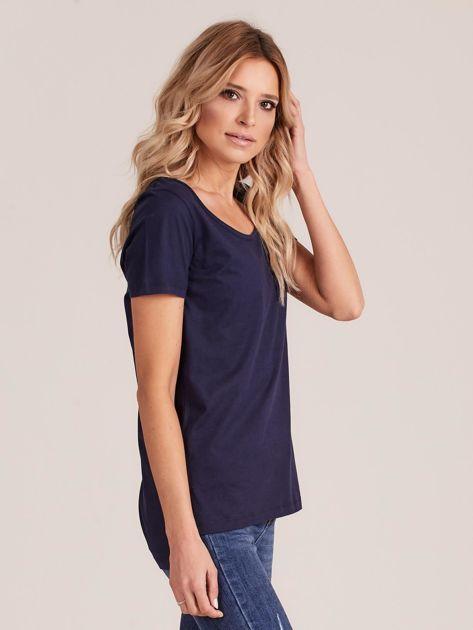 Granatowy gładki t-shirt damski                              zdj.                              3