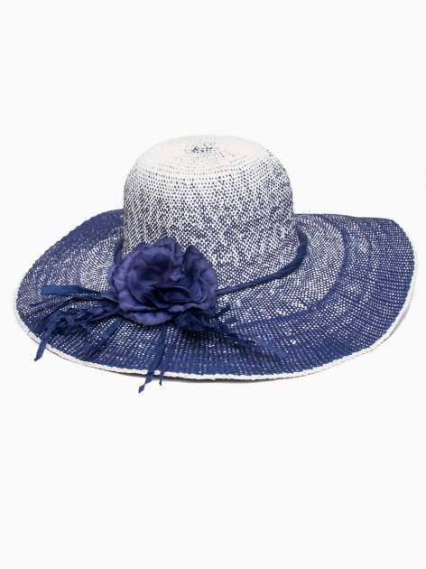 Granatowy kapelusz słomiany z dużym rondem i kwiatem                                  zdj.                                  2