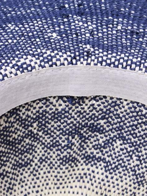 Granatowy kapelusz słomiany z dużym rondem i kwiatem                                  zdj.                                  6