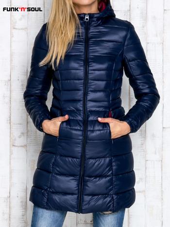 Granatowy pikowany płaszcz z kapturem FUNK N SOUL                                  zdj.                                  1