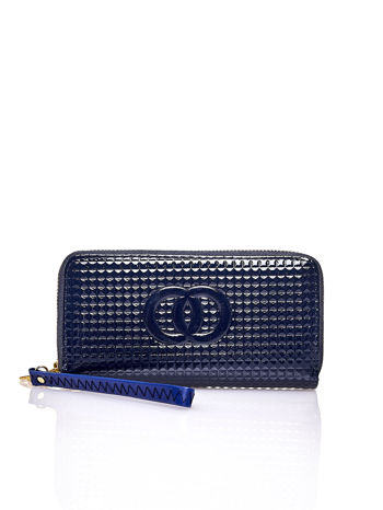 Granatowy pikowany portfel z uchwytem na rękę                                  zdj.                                  1