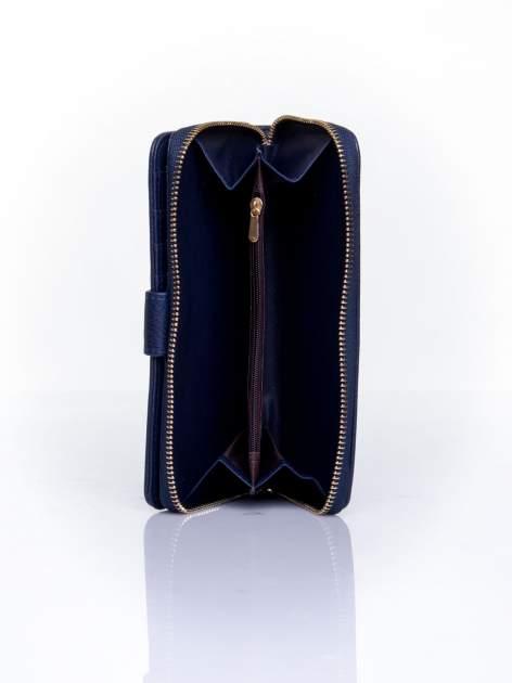 Granatowy pikowany portfel ze złotym suwakiem                                  zdj.                                  5