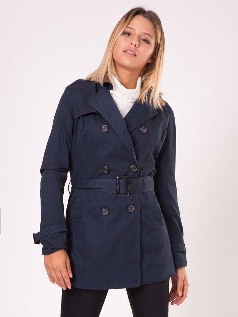 Granatowy płaszcz typu trencz                              zdj.                              6