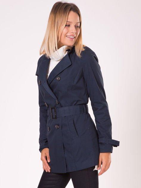 Granatowy płaszcz typu trencz                              zdj.                              7