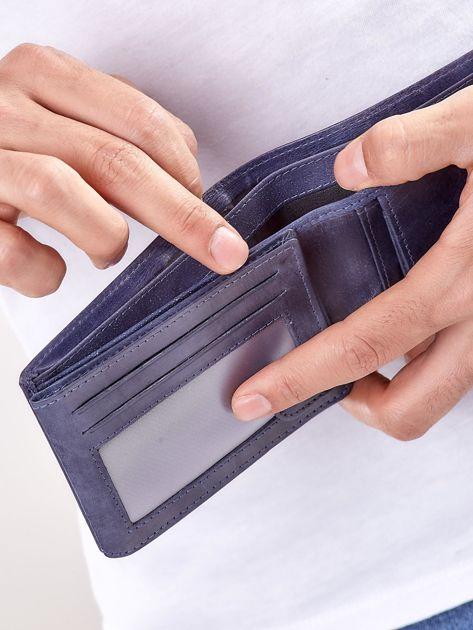 Granatowy portfel męski ze skóry naturalnej                              zdj.                              2
