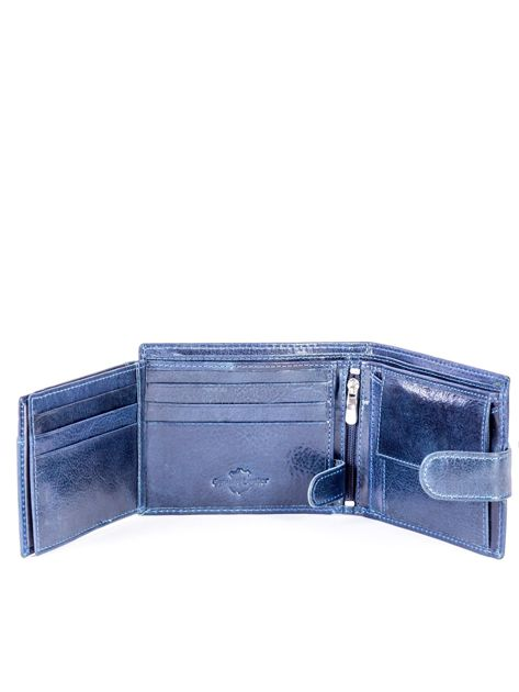 Granatowy portfel skórzany z zapięciem                              zdj.                              6
