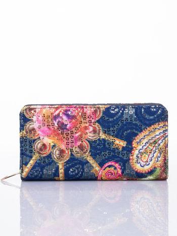Granatowy portfel z nadrukiem paisley