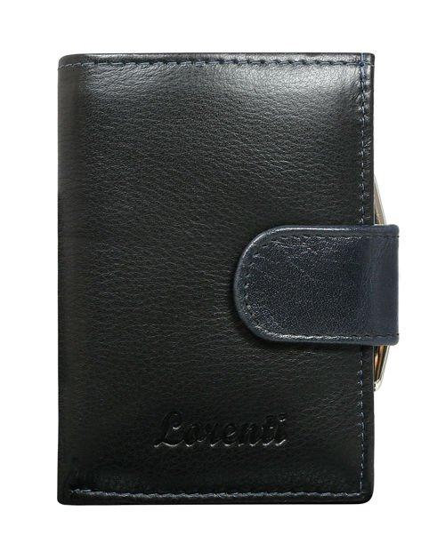 Granatowy skórzany portfel damski na bigiel i napę