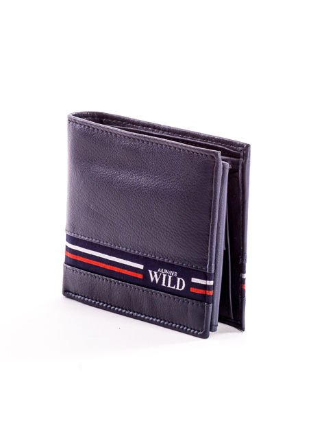 Granatowy skórzany portfel męski z materiałowym modułem                              zdj.                              3