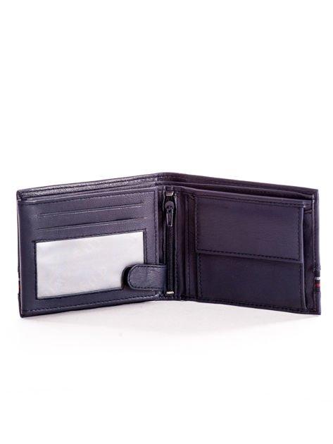 Granatowy skórzany portfel męski z materiałowym modułem                              zdj.                              4