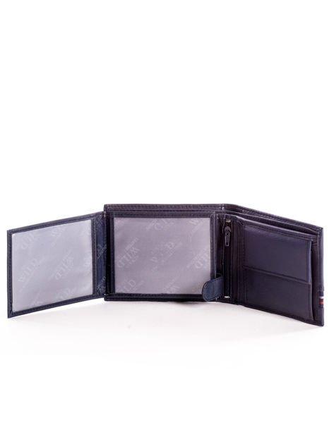 Granatowy skórzany portfel męski z materiałowym modułem                              zdj.                              5