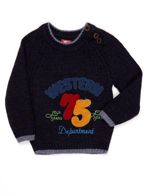 Granatowy sweter dla chłopca z napisem                              zdj.                              1