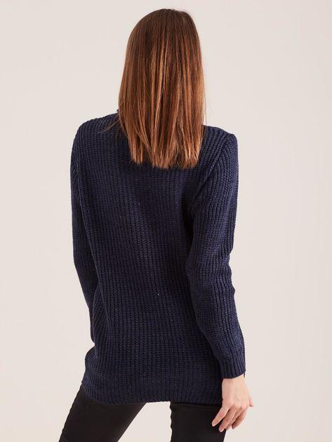 Granatowy sweter golf                              zdj.                              2