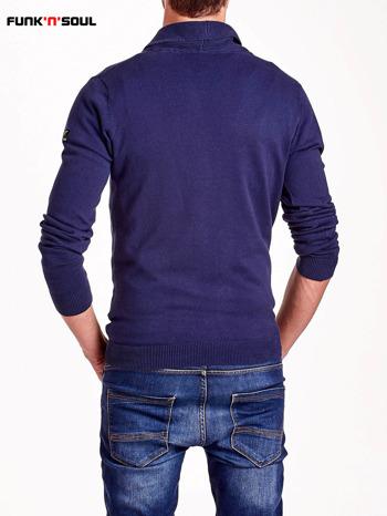 Granatowy sweter męski na guziki FUNK N SOUL                                  zdj.                                  3