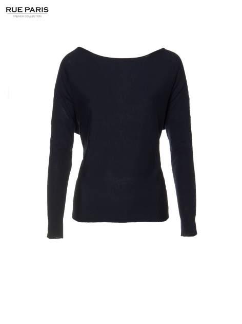 Granatowy sweter o nietoperzowym kroju z cekinową aplikacją na rękawach                                  zdj.                                  5
