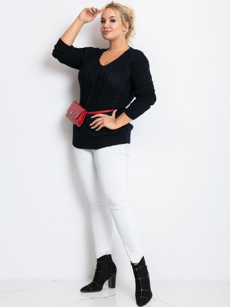 Granatowy sweter plus size Latte                              zdj.                              4