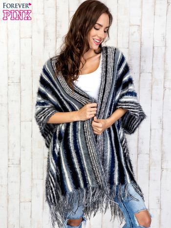 Granatowy sweter poncho z frędzlami                                   zdj.                                  3