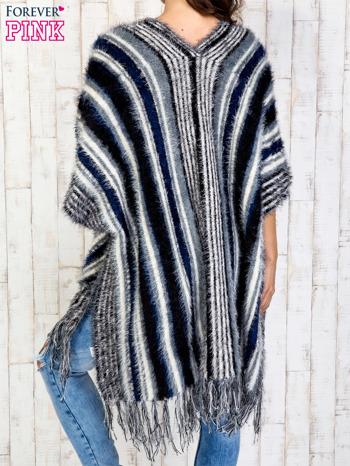 Granatowy sweter poncho z frędzlami                                   zdj.                                  2