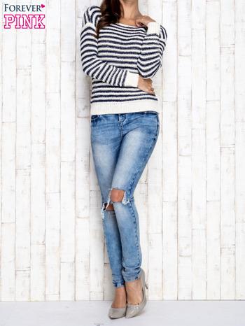 Granatowy sweter w paski                                  zdj.                                  4