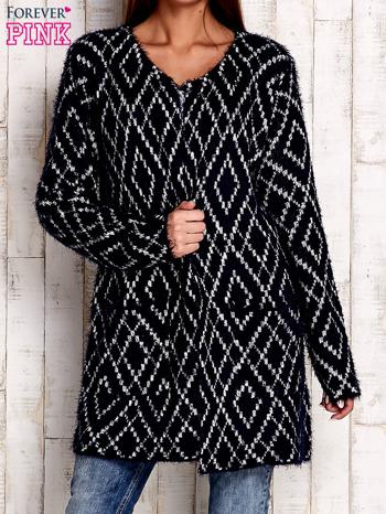 Granatowy sweter z geometrycznymi motywami                                  zdj.                                  1