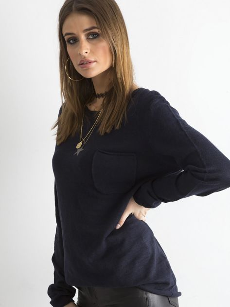 Granatowy sweter z kieszonką                              zdj.                              1