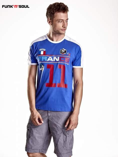 Granatowy t-shirt męski z napisem FRANCE Funk n Soul