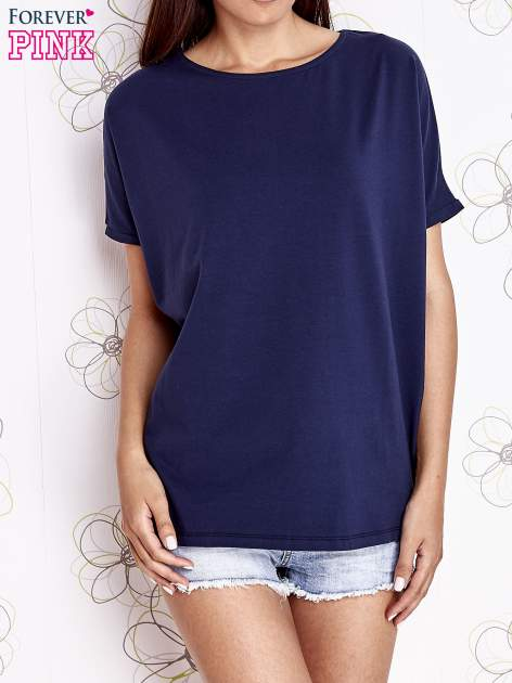 Granatowy t-shirt oversize