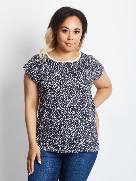 Granatowy t-shirt plus size Finer                              zdj.                              1