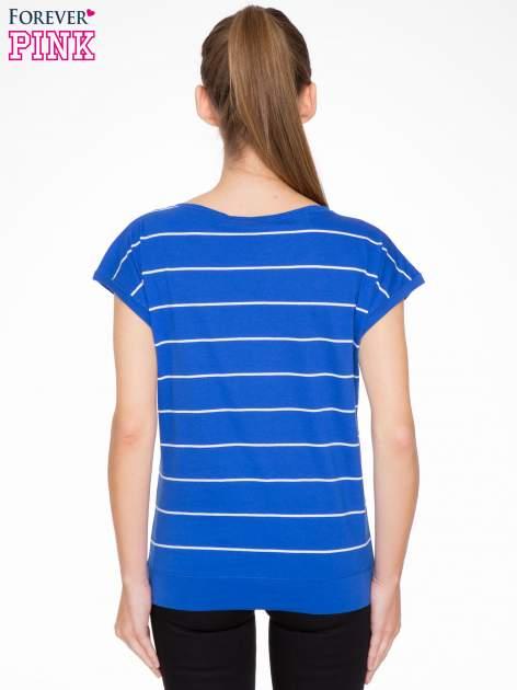 Granatowy  t-shirt w paski                                   zdj.                                  3