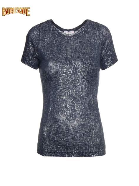 Granatowy t-shirt w srebrne plamki