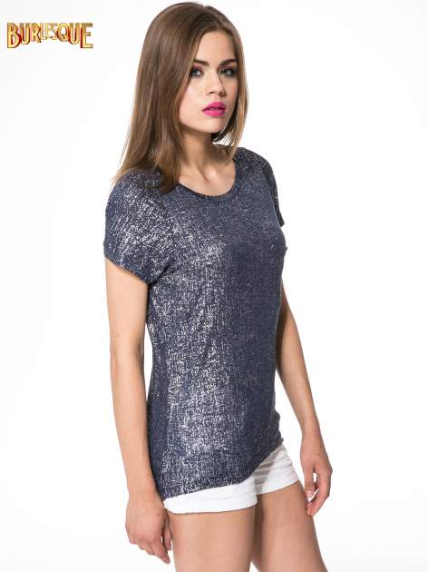 Granatowy t-shirt w srebrne plamki                                  zdj.                                  3